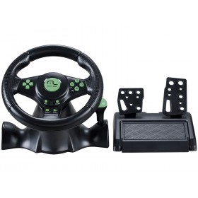 VOLANTE COM PEDAL PARA PC | PS2 / PLAY2 | PS3 / PLAY3 | XBOX 360 - MULTILASER RACER 4 X 1